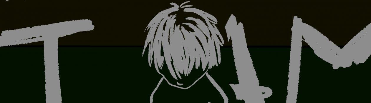 黒背景の裏にうっすらレインボー色。グレーでうつむいた少年が描かれており、全体に I AM NOBODY の表記が無数にある。